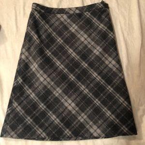 J Crew Grey Plaid Midi Skirt